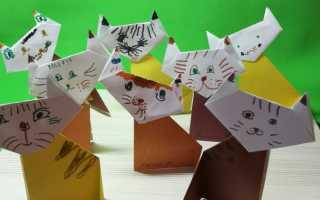 Как сделать из бумаги фигурку кота собаки. Котенок из бумаги. Как сделать кошку из цветной бумаги