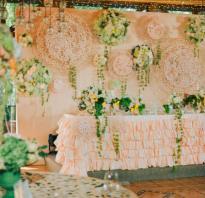 Что нужно для украшения зала на свадьбу. Оформление зала на свадьбу (90 фотоидей): тренды года и советы по выбору стилистики, цветовой гаммы и декора. Столы для гостей
