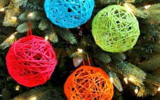 Как сделать новогоднюю игрушку из ниток и клея. Новогодние шары из ниток своими руками