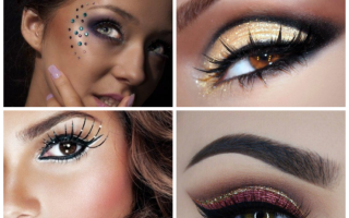 Новогодний макияж – лучшие идеи и последние тренды макияжа на Новый год. Делаем праздничный макияж с блестками: создаем модные образы Макияж с блестками на новый год