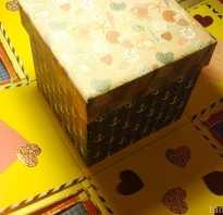 Как делать коробки из бумаги для денег. Коробочка с сюрпризом для денег своими руками. Пошаговая инструкция по самостоятельному изготовлению свадебной коробки для денег