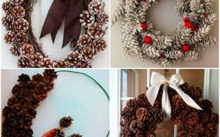 Рождественский венок своими руками из трубочек. Рождественский венок своими руками. Как сделать красивый венок на Новый год. Венок на дверь из сосновых шишек и елочных шаров