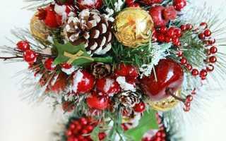 Дерево из новогодних шаров своими руками. Новогодний топиарий из сизаля, шишек и ёлочных шаров своими руками. Топиарий елочка своими руками: финальное оформление
