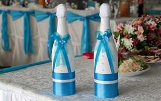 Бант сделать на бутылке шампанское на свадьбе. Украшение бутылки шампанского на свадьбу