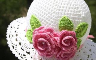 Схема вязания крючком летней панамки для женщины. Схемы панамок. Вязание тульи панамки